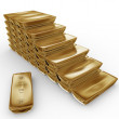 3d stack of gold bars — 图库照片