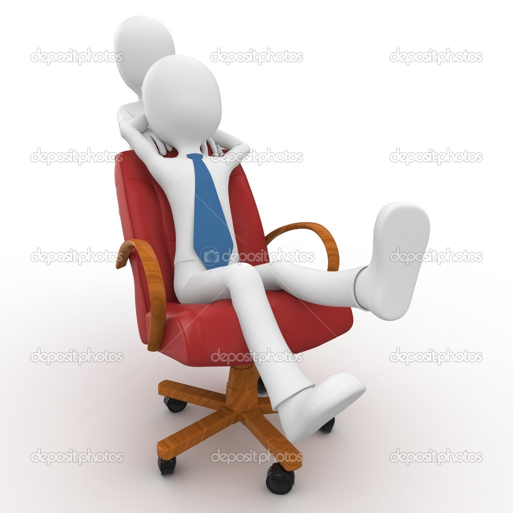 3d man pushing the boss with chair isolated on white — Stock Photo #5773322