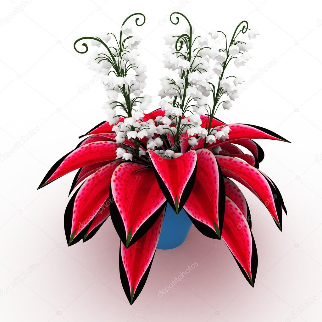 3d flower arrangement on vase isolated on white — Photo by dny3dcom