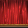 3d theater scene set with red velvet curtains — Stock Photo