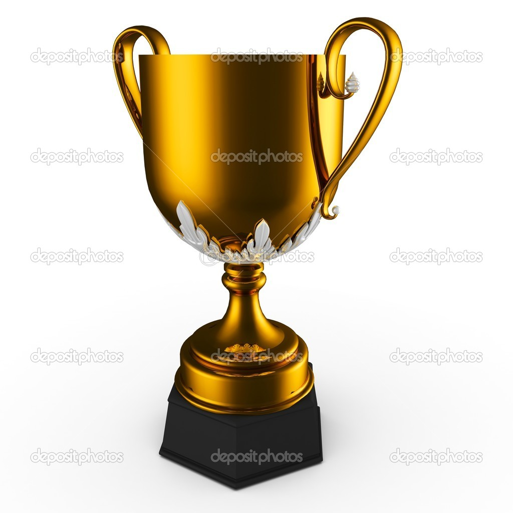 3d gold cup trophy isolated on white — Stock Photo #5908937