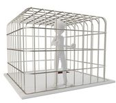 3d man prisoner in a silver cage — Stock Photo