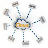 3d multi-layer Cloud computing concept — Stock Photo