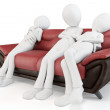 Royalty-Free Stock Photo: 3d man sleeping on sofa