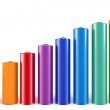 Stock Photo: 3d cylindrical graph bars