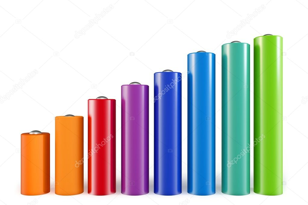 3d cylindrical graph bars   isolated on white background — Stock Photo #6215799