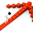 Stock Photo: 3d mbusiness race on red cube arrow