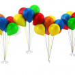 3d blue,red,yellow,green and orange balloons — Stock Photo