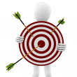 3d man with target and arrows — Stock Photo
