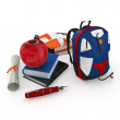 3d student books, pen, backpacks and red apple at school — Stock Photo