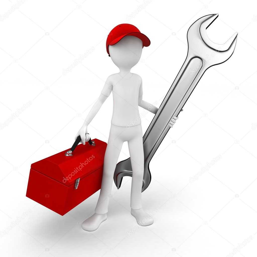 3d man engineer with toolbox and wrench on white — ストック写真 #6622684