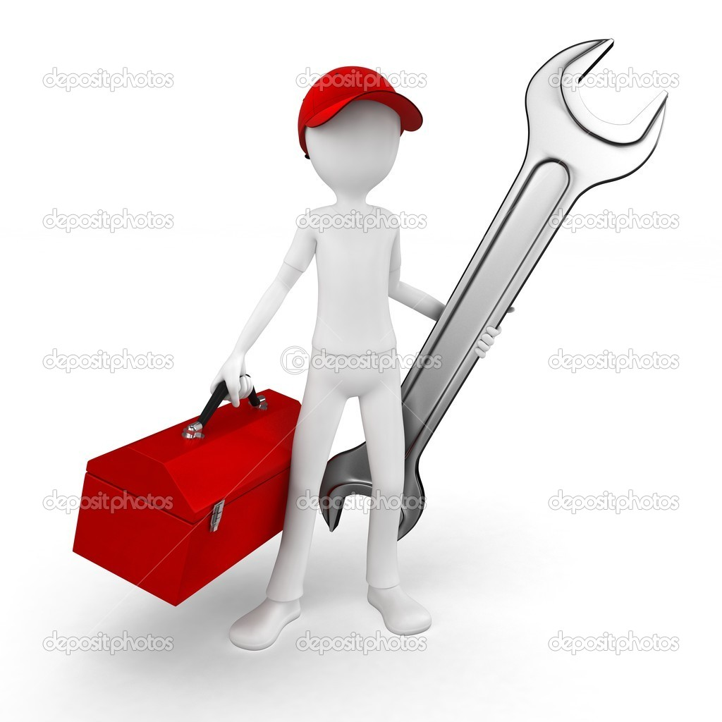 3d man engineer with toolbox and wrench on white  Photo #6622684