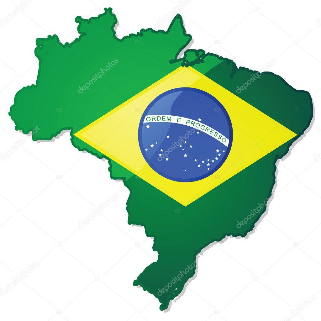 巴西地图与标志 — 图库矢量图片