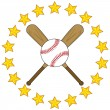Baseball bats and ball with stars — Stock Vector