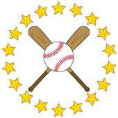 Baseball bats and ball with stars — Stock Vector