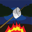 Roasting a marshmallow — Stock Vector