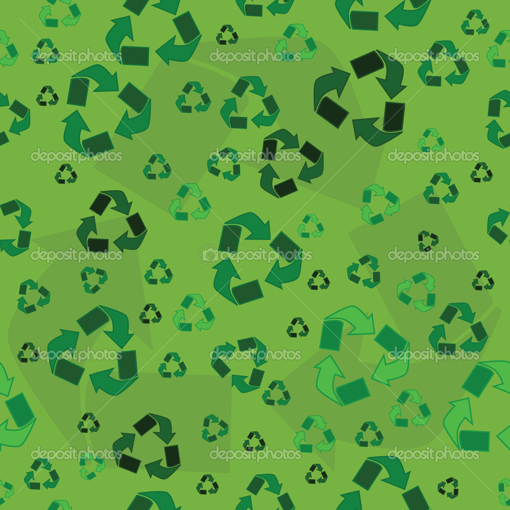 Seamless background with the recycling symbol in different tones of green  Stock Vector #5647896