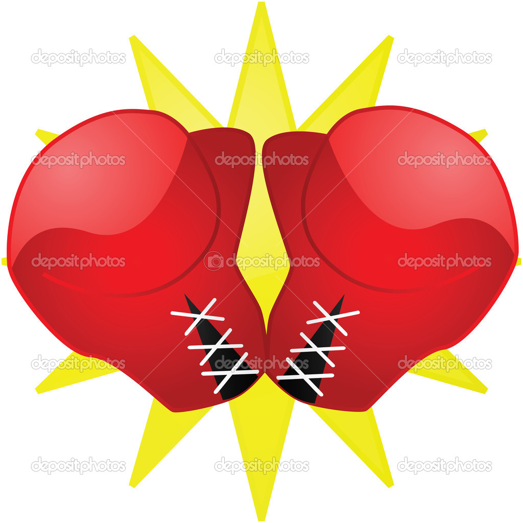 Glossy illustration of a pair of red boxing gloves — Stock Vector #5647955
