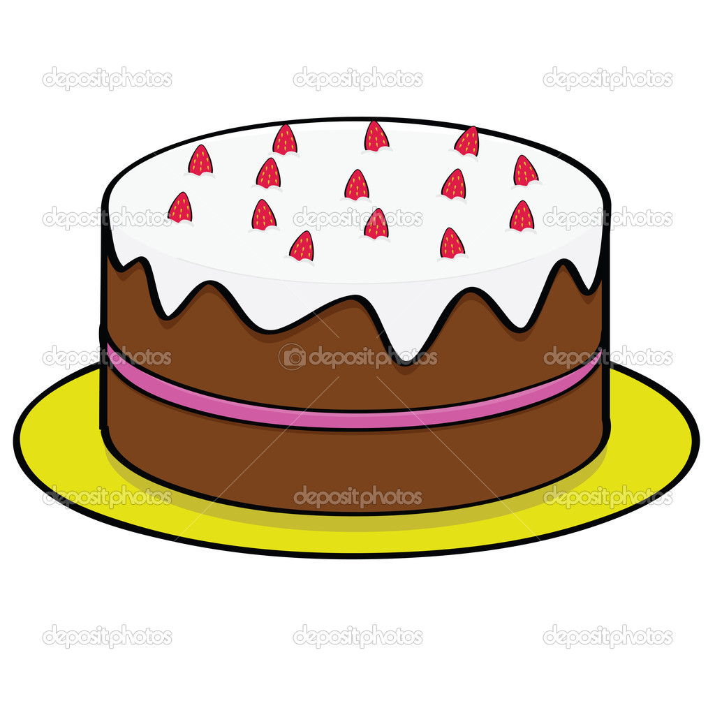 Strawberry chocolate cake — Stock Vector © bruno1998 #5702174