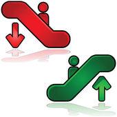 Signos de escaleras mecánicas — Vector de stock