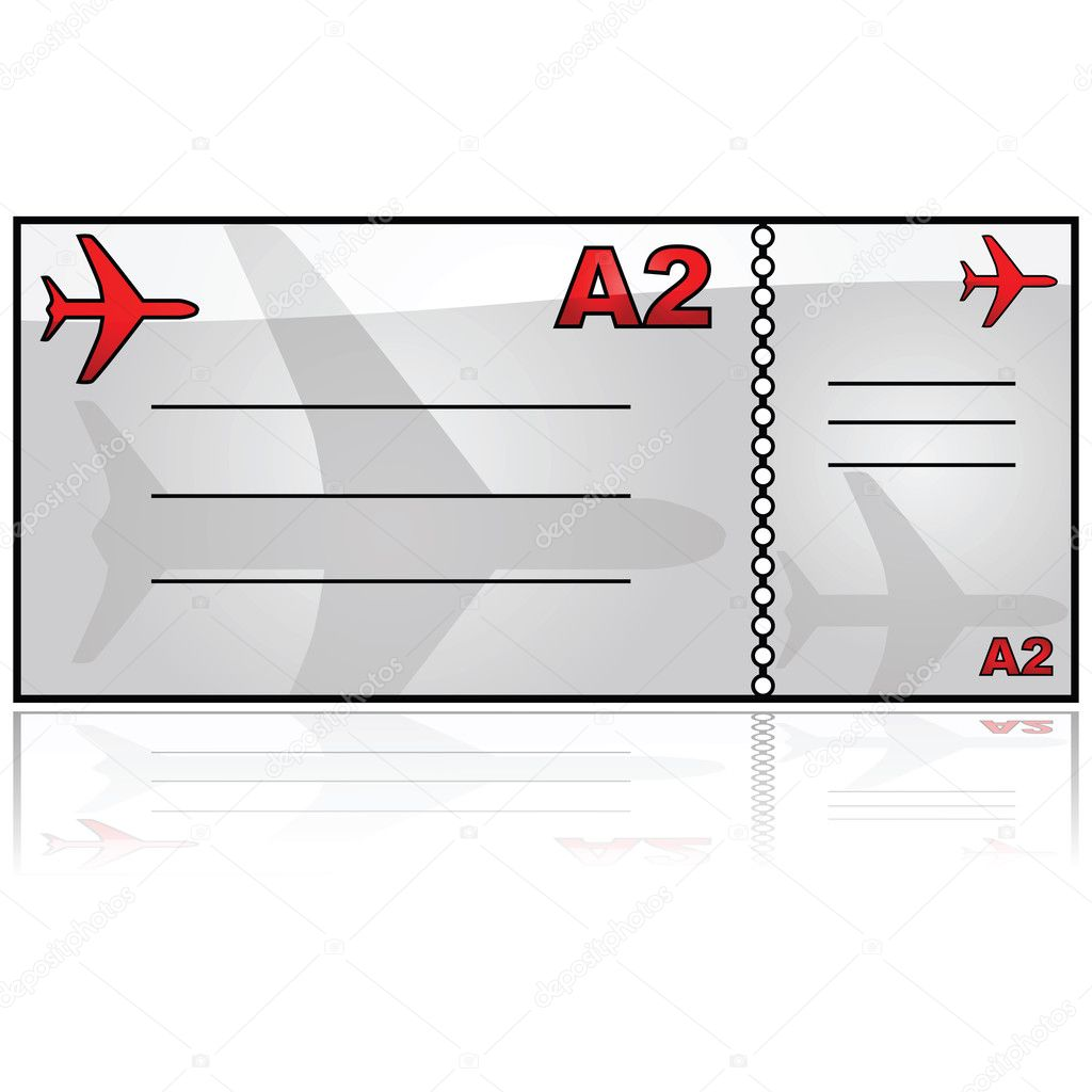 Glossy illustration showing a generic airplane ticket — Stock Vector #6231432