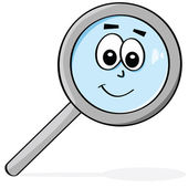 Happy magnifying glass — Stock Vector