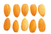 Almond nuts on white — Stock Photo