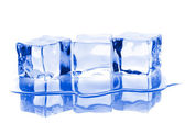 Tři kostky ledu s vodou — Stock fotografie