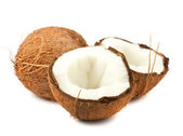 Fresh full and two halves of coconut — Stock Photo