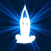 Femme, faire du yoga sur fond d'étoiles rafale. eps 8 — Vecteur