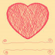 Hand draw scribbled heart valentine card. EPS 8 — Stockvectorbeeld