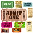 Set of vintage and modern ticket admit one. EPS 8 — Stock Vector