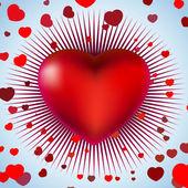 červené srdce s paprsky na modré světlo. eps 8 — Stock vektor
