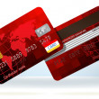 Royalty-Free Stock Vector Image: Red Credit cards front and back. EPS 8