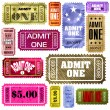 Set of vintage and modern ticket admit one. EPS 8 - Stock Vector
