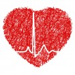 Royalty-Free Stock Vectorafbeeldingen: Heart scribble with heart beat. EPS 8