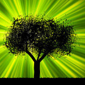 Tree with green burst background. EPS 8 — Stock Vector