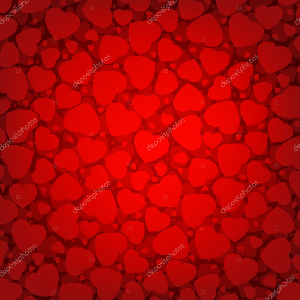 Red background with hearts. EPS 8 vector file included — Stock Vector #5623410