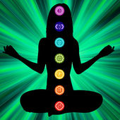 Woman silhouette sitting crossing legs, seven main chakra are on here body. EPS8. To see similar visit my portfolio — Stock vektor