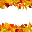 Stockvector : Colorful autumn border made from leaves. EPS 8