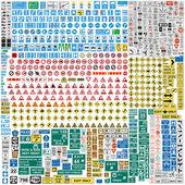 Altı yüzden fazla avrupa trafik işaretleri — Stok Vektör