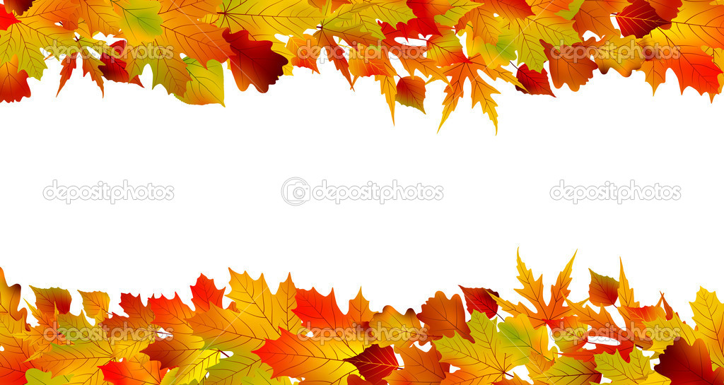 Colorful autumn border made from leaves, isolated on white background. EPS 8 vector file included — Stock Vector #5796605