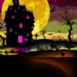Stock Vector: Haunted house halloween background. EPS 8