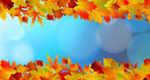 Red and yellow leaves against a bright blue sky — Stock Vector