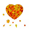 Heart shape made from autumn leaf. EPS 8 — Stock Vector