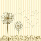 Vintage two dandelions in wind. EPS8 — Stock Vector