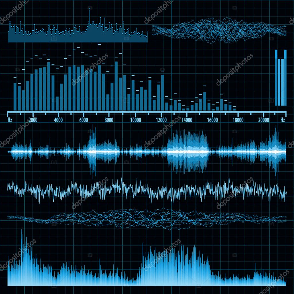 Sound waves set. Music background. EPS 8 vector file included — Stock Vector #5843485
