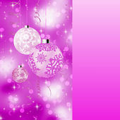 Pink card with christmas balls. EPS 8 — Stock Vector