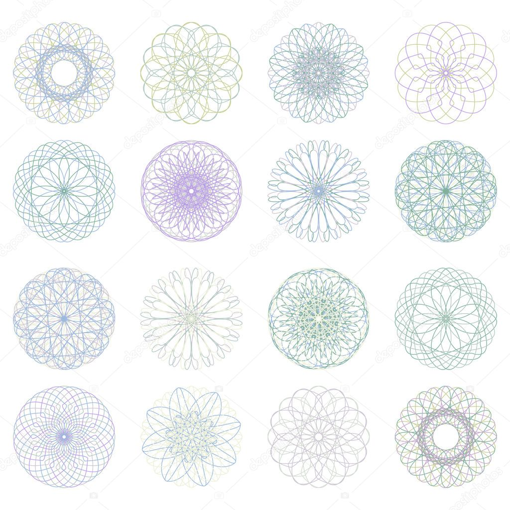 Guilloche rosette, vector pattern for currency, certificate or diplomas. EPS 8 vector file included — Stock Vector #5978033