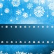 White  Snowflakes on Colorful blue christmas — Stockvektor
